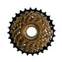 Wolnobieg 6-rzędowy VENTURA, indeksowany, zębatki 14-28T, stal, kolor brązowy