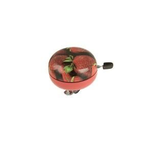 Dzwonek stalowy z wyjątkowym wzornictwem, zew. śr.80 mm, grafika truskawka