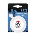 """Dzwonek stalowy z napisem """"I love my bike"""", kolor biały"""