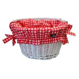 Wyściółka bawełniana do koszyka, kieszeń na rzep, wzór biało-czerwona  kratka