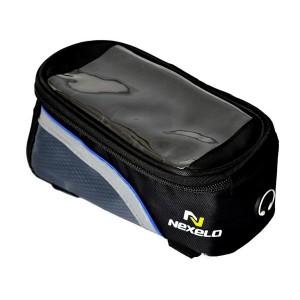 Torba na ramę,kieszeń PVC SAMARTPHONE, na paski,wym:18,5x8,5x8,5cm,czar-nieb.