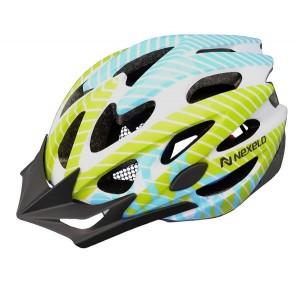 Kask rowerowy Straight, tech. out-mold, kolor: biało-ziel-nieb, roz L:58-61cm