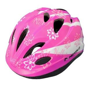 Kask rowerowy FUNNY, tech.OUT-MOLD, kolor:różowo-biały,kwiatki,roz S:52-56cm