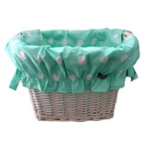 Wyściółka bawełniana do koszyka, wzór-mięta w groszki