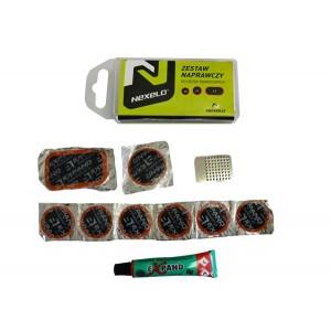 Zestaw naprawczy Nexelo: 6 łatkek fi 25mm, 1 łatka fi 32mm,1 łatka 54 x 32 mm,klej 5ml, narzędzie ścierne[PROMOCJA]