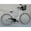 """Rower 28"""" - VIVIENE, rama: STAL, piasta: favorit, KOSZ + PODPÓRKA  w ZESTAWIE, kolor: biały"""