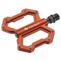 Platform pedals, low profile, alloy, three cartridge sealed bearings, 304g, orange