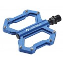 Platform pedals, low profile, three cartridge bearings, alloy, 304g, blue