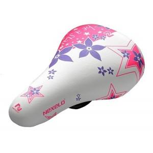 """Siodło dziecięce do 12"""", wymiary: 205x140 mm,biało-fioletowo-różowe"""