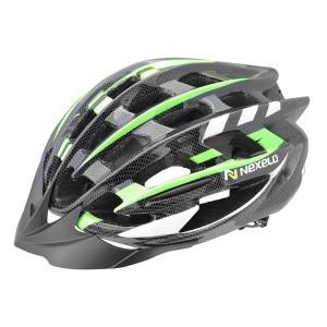 Kask rowerowy NEX-ONE, tech: in-mold, siatka, czarno-zielony, roz:M (55-58cm)[PROMOCJA]