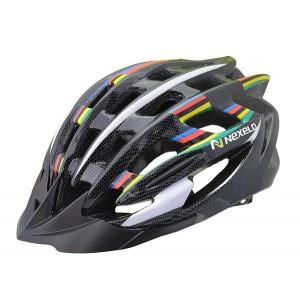 Kask rowerowy NEX-ONE, tech: in-mold, siatka, czarno-tęczowy, roz:L (58-61cm)[PROMOCJA]