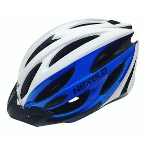 Kask rowerowy, tech. in-mold, kolor: biało-niebieski, roz. M: 54-58 cm
