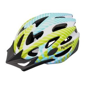 Kask rowerowy Straight, tech: out-mold, biało-ziel-nieb, roz: M (55-58cm)