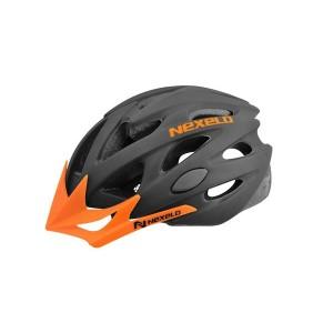 Kask rowerowy Straight MATT,  out-mold, czarno-pomarańczowy, roz:M (55-58cm)
