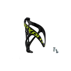 Koszyk bidonu plastikowy, montowany na ramę rowery na śruby, kolor czarno-zielony