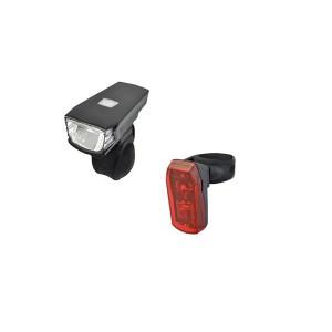 Zestaw lamp: przód akumulatorowa  2 funkcyjna, ładowana na mikro USB, lampa tył bateryjna, 1 Super jasna dioda LED, 2 funkcyjna, uchwyty gumowe  NEW 2020