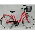 """Rower 28"""" - VIVIENE, rama: STAL, piasta: favorit, KOSZ + PODPÓRKA  w ZESTAWIE, kolor: czerwony Rosso"""